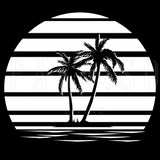 Retro Sunset Palm Trees - Wood Print 7 x 7