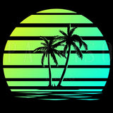 Retro Sunset Palm Trees - Wood Print