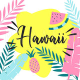 Tropical Fruits And Hawaiian Leaves - Wood Print