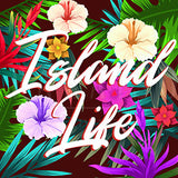 Island Life Tropical Forest Digital Painting - Wood Print