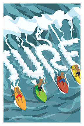 Surfing in Hawaii Travel Print