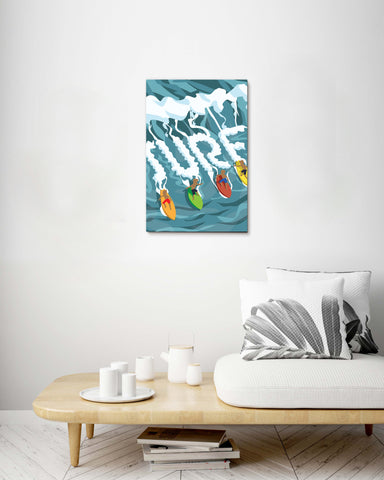 Surfing in Hawaii Stretch Canvas