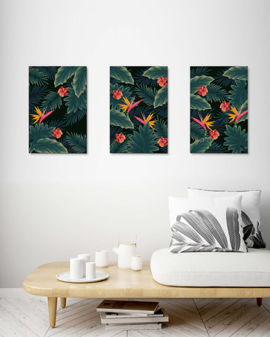 Vintage Tropical Leaves Birds of Paradise set of 3