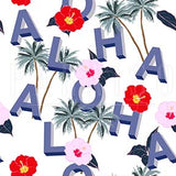 Aloha Palm Tree Flowers - Wood Print