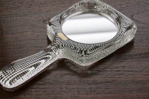 Pukeberg Sweden hand mirror lead crystal glass mid-century