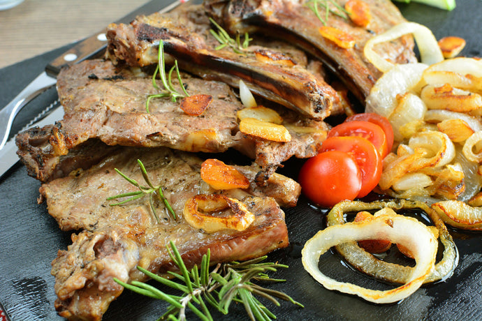 Rib Steaks with Onions & Rosemary