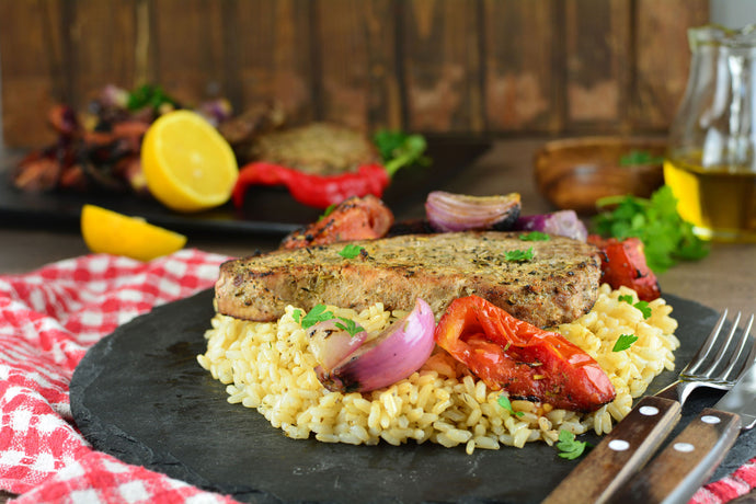 Tuna Steaks with Tomatoes & Onions