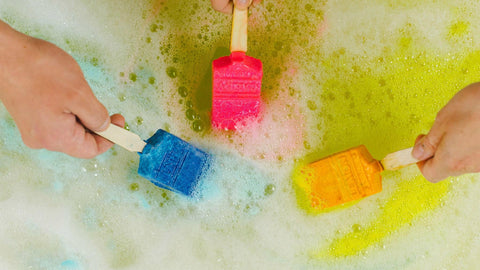 Lush  Bubble Brush bars being used in bath