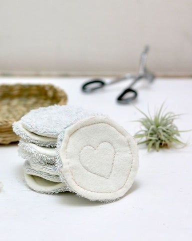 Pile of reusable handmade makeup remover pads