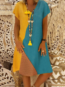 Retro Rundhals Color-Block Midi Kleid