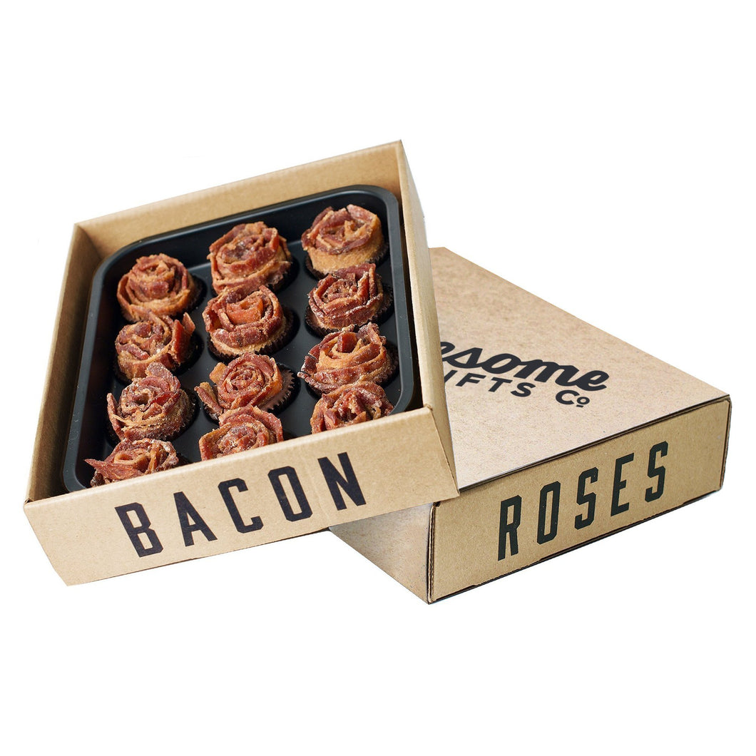 Bacon roses, sitting on top of sleeve, on white background