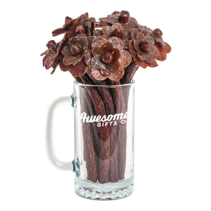 Beef Jerky Flower Bouquet & Beer Mug 1/2 Dozen / Original Awesome Gifts Co.