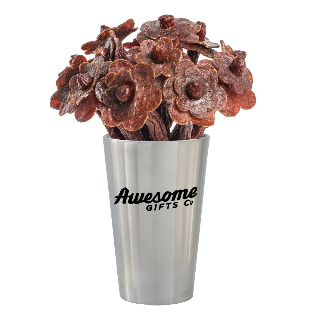 Beef Jerky Flower Bouquet - Stainless Steel Edition 1/2 Dozen / Mixed (Original, Teriyaki & Hot) Awesome Gifts Co.
