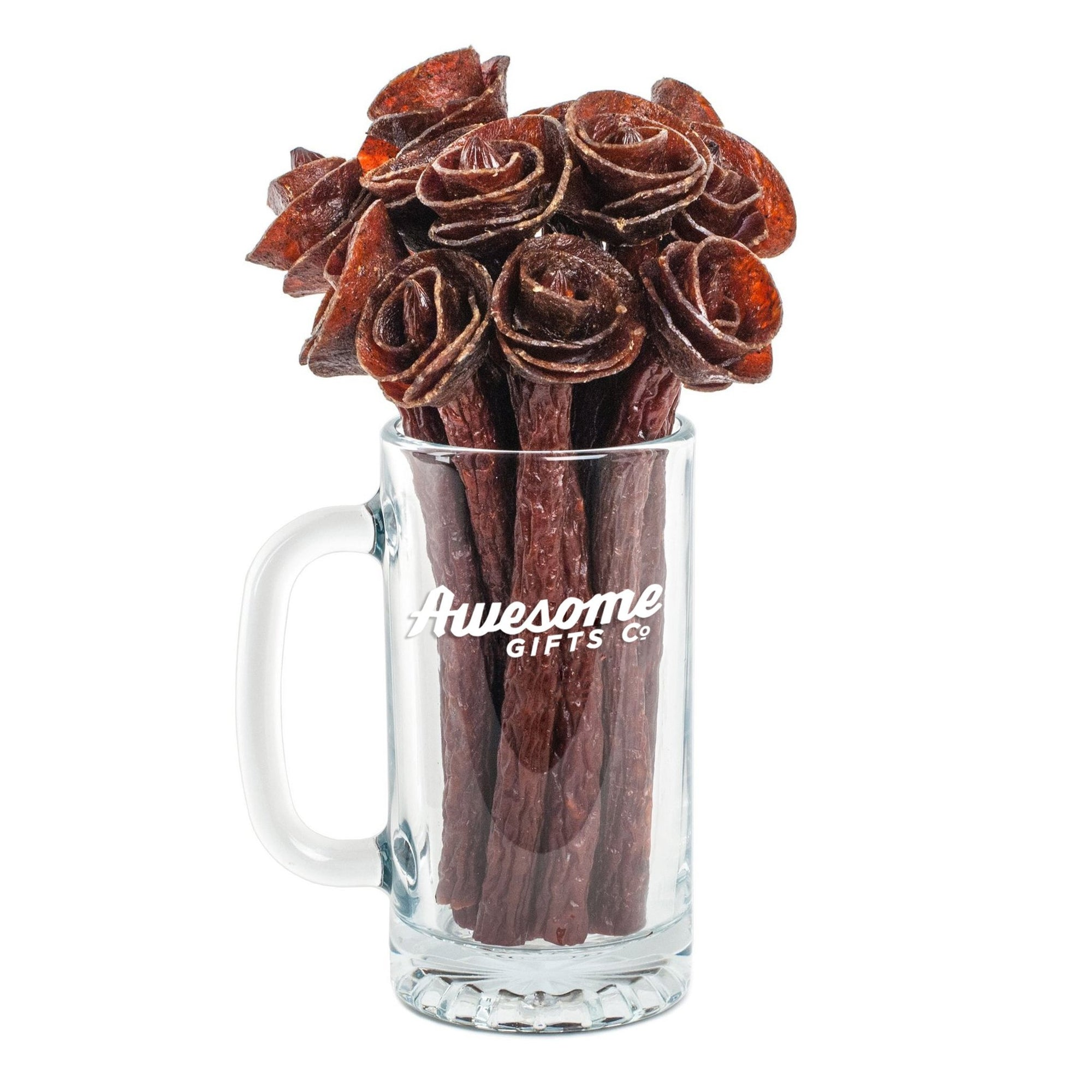 Beef Jerky Rose Bouquet & Beer Mug 1/2 Dozen / Original Awesome Gifts Co.