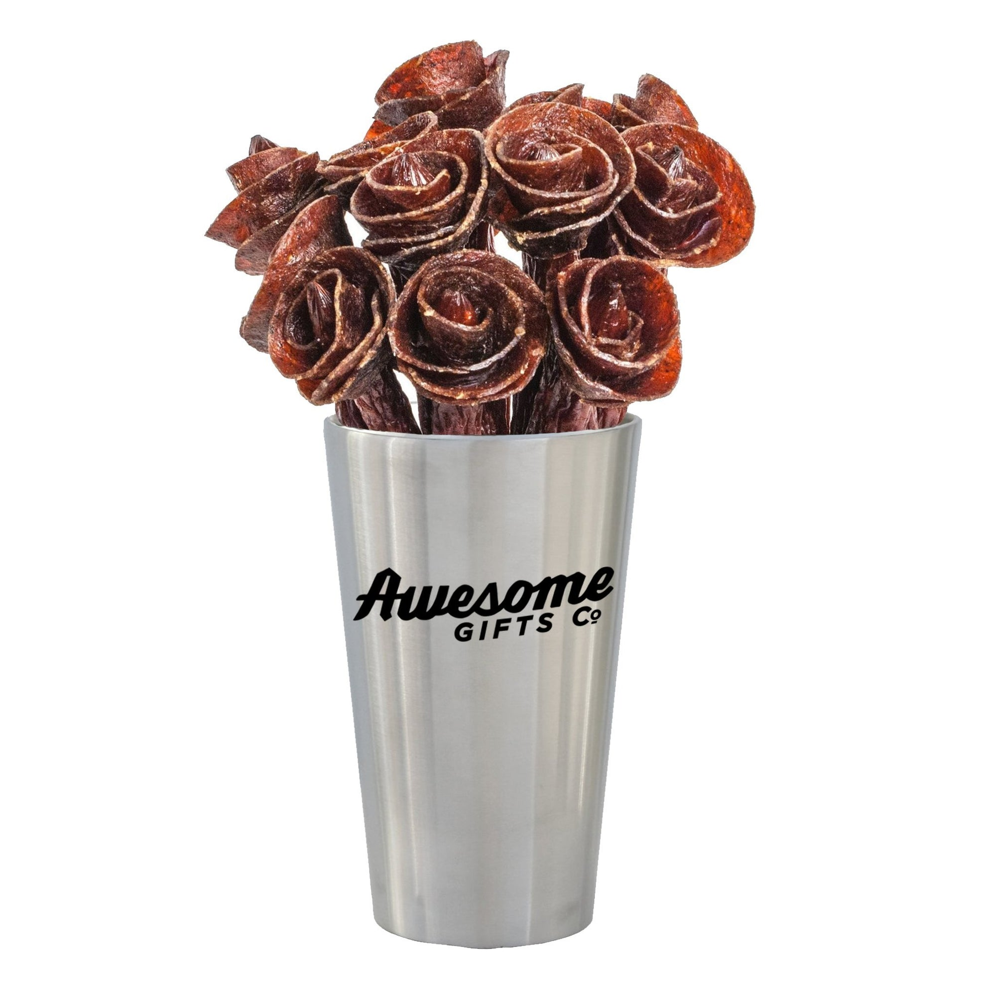 Beef Jerky Rose Bouquet - Stainless Steel Edition