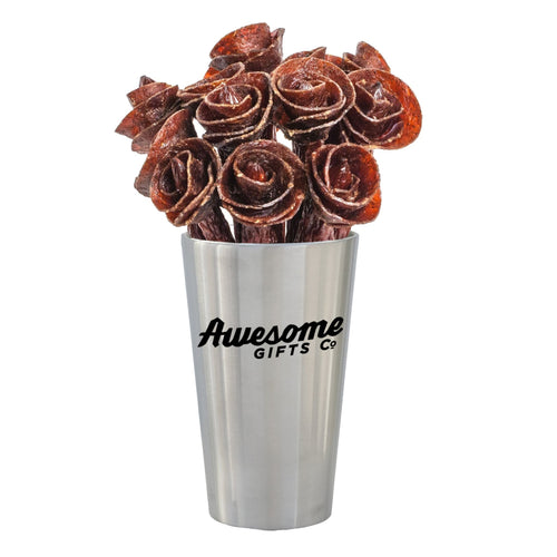 Beef Jerky Rose Bouquet - Stainless Steel Edition 1/2 Dozen / Mixed (Original, Teriyaki & Hot) Awesome Gifts Co.