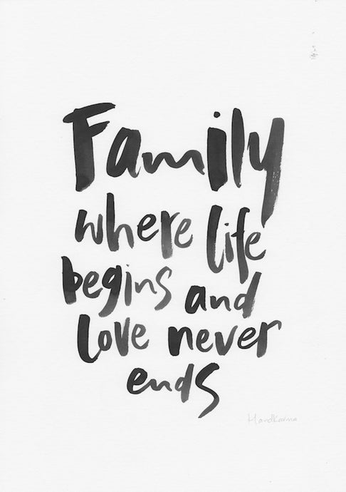 Family where life begins and love never ends-Paper & Ink-Hand Karma typography hand drawn art prints australia hand drawn karma word art