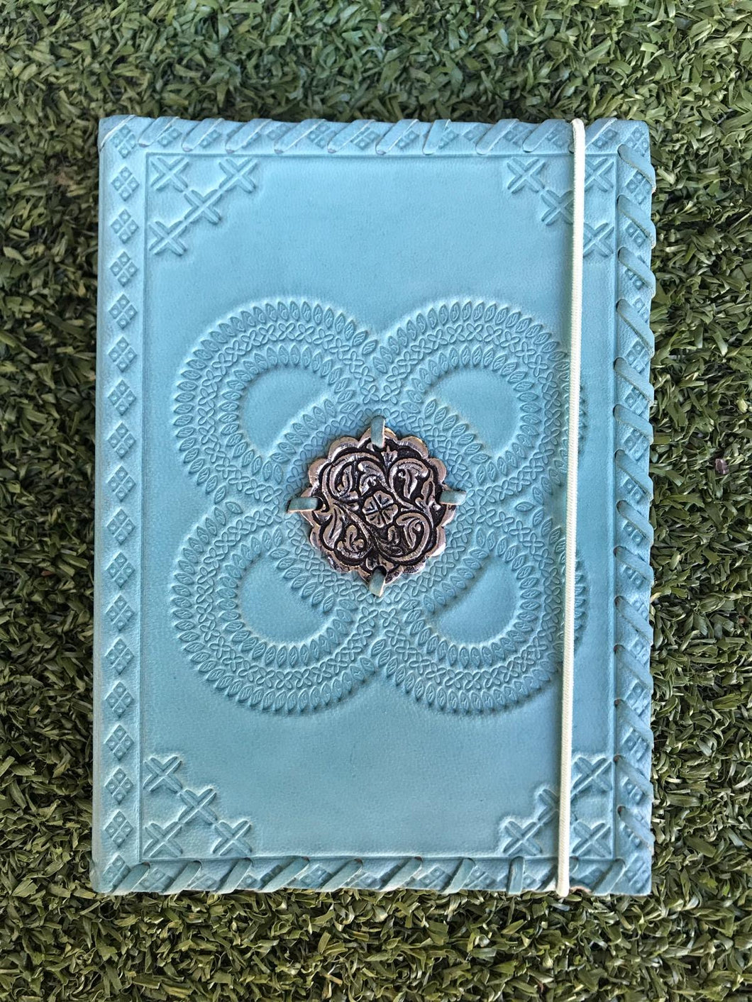 Soft Aqua Leather Silver Medallion Journal