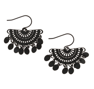 Black Tinkle Fan Earrings
