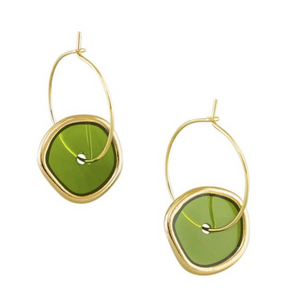 Green Spinning Earrings