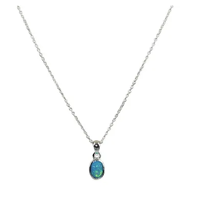 Blue Opal Oval Necklace