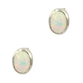White Opal Oval Stud Earrings