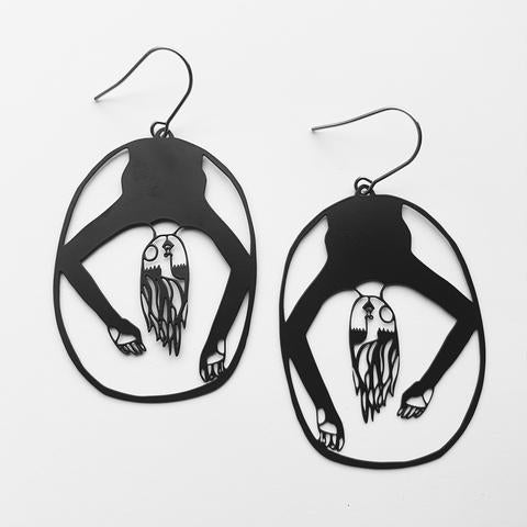 Upside Down Earrings in Black