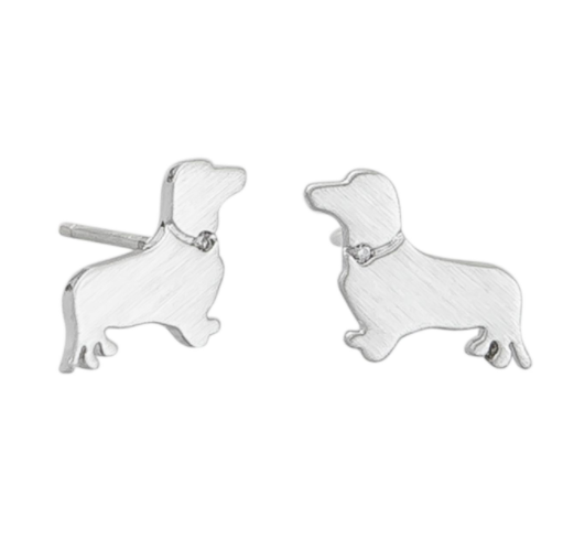 Silver Sausage Dog Earrings