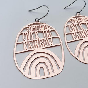 Somewhere Over The Rainbow Rose Gold Earrings