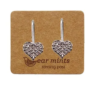 Silver Diamante Hanging Heart Earrings