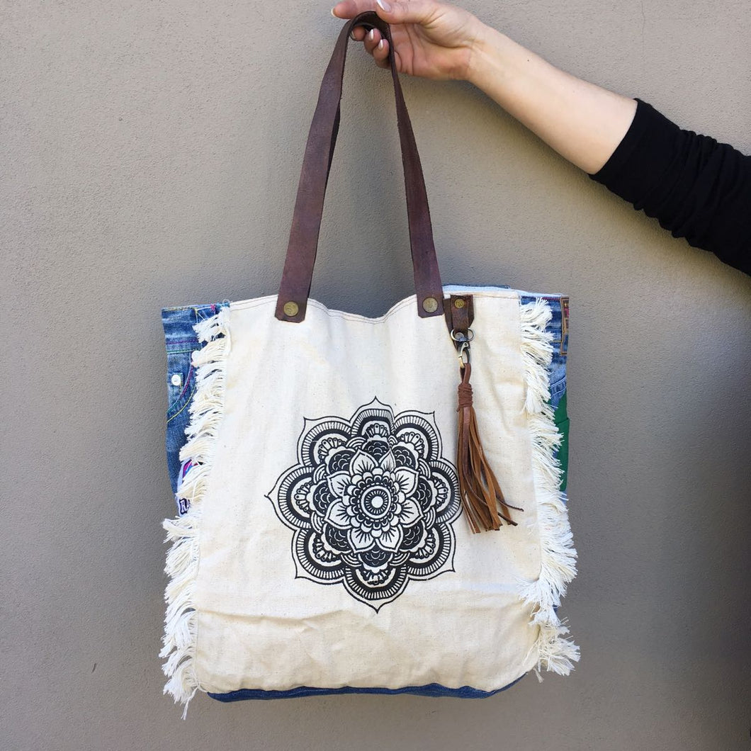 Square Mandela Tote Bag – Cream