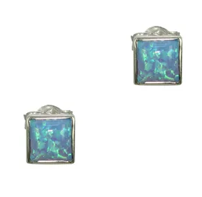 Blue Opal Square Stud Earrings