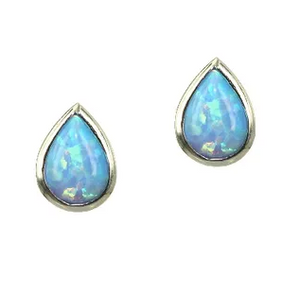 Blue Opal Teardrop Stud Earrings