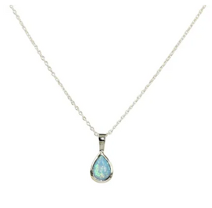Blue Opal Teardrop Necklace