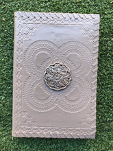 Load image into Gallery viewer, White Leather Silver Medallion Journal