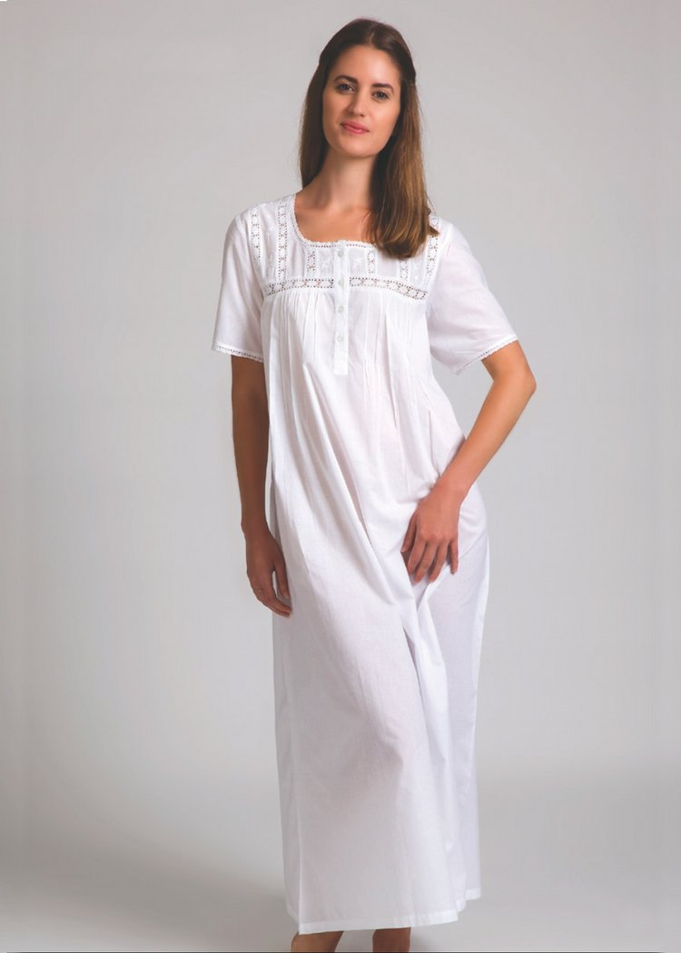 Short Sleeve White Nighty