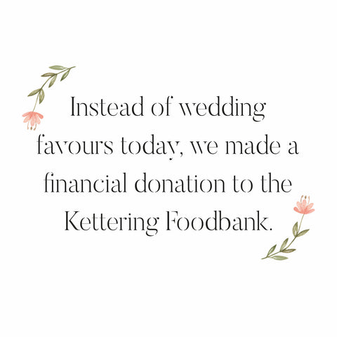 Alternative Wedding Favours Foodbank Donation