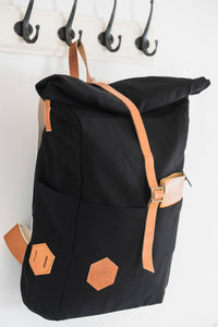 Top Roll Black Backpack