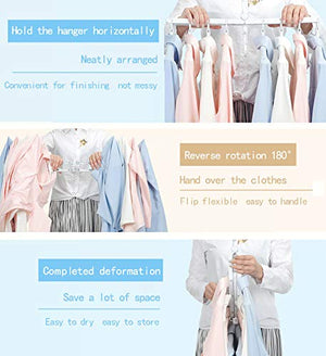 Foldable Travel Home Camping Hangers,Space Saving Clothes Hangers,Multi-Function Folding Magic Clothes Hangers (White)