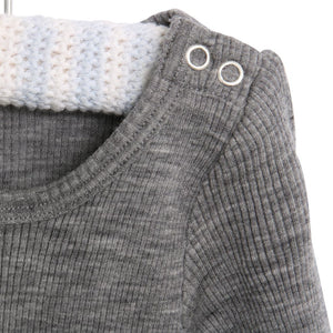 Body wool rib melange grey