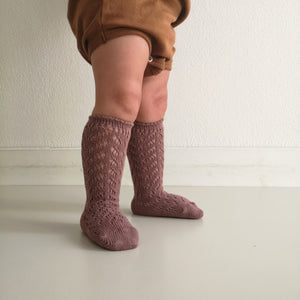 Warm openwork high socks