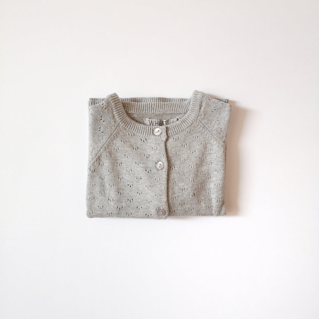Organic cotton knit cardigan Maja-Light grey