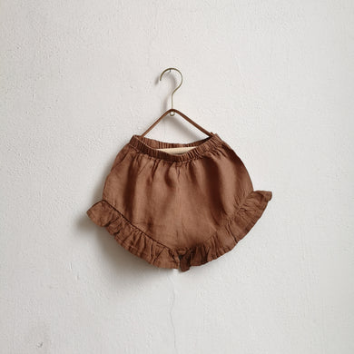 The frill linen shorts-Cinnamon
