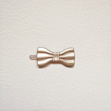 Small bow clip-Beige gloss