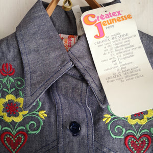 [Unworn]  VINTAGE denim shirt 6Y (dead stock)