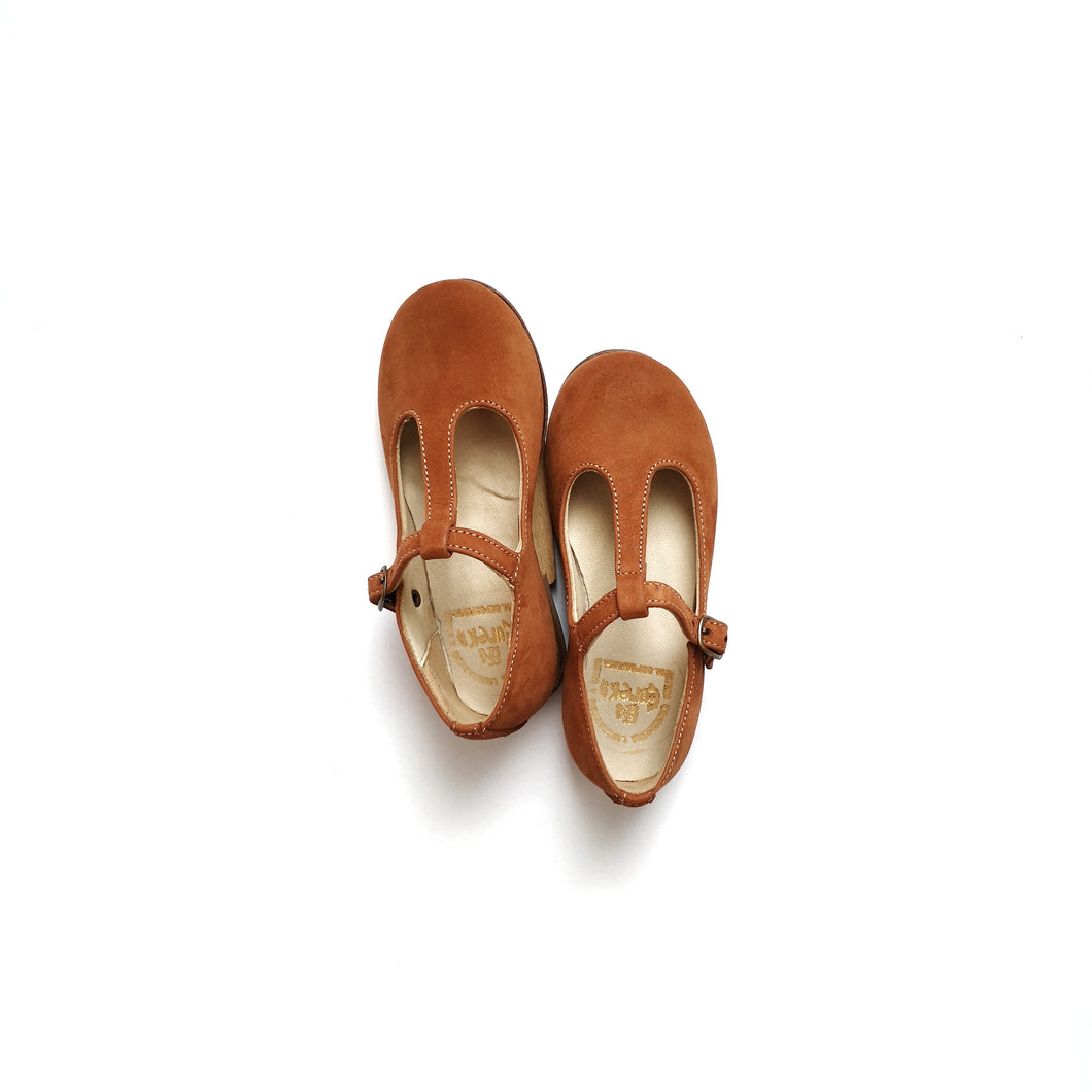 T-strap Ballerina -morbidone CARAMEL CAFE (in-stock)