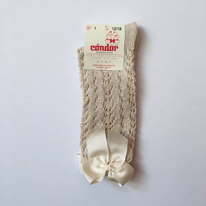 Openwork highsocks with ribbons