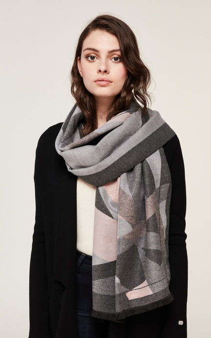 NEFLI woven scarf with fray and geometric print