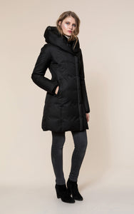 CAMELIA slim fit brushed down coat with leather trims