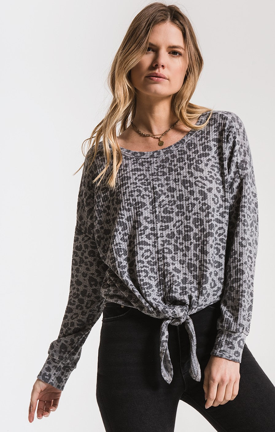 THE LEOPARD TIE FRONT WAFFLE THERMAL TOP